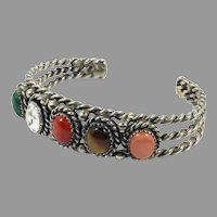 Stone Cuff Bracelet, Malachite, Tiger Eye, Red Coral, Pink Coral, Howlite, Sterling Silver, Vintage Bracelet, Heavy, Mixed Stones, Multi