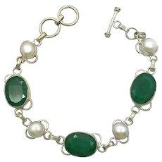 Emerald Bracelet, Sterling Silver, Green Stone, Vintage Bracelet, Pearls, Links Linked, Large Stones, Toggle Clasp, Boho Bohemian