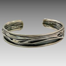 Modern Bracelet, Sterling Silver Cuff, Vintage Bracelet, Brutalist, Patina, Unique, Unusual, Studio Design, Handcrafted, Contemporary