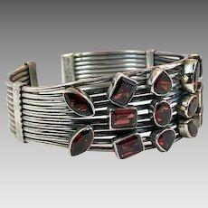 Garnet Bracelet, Red Stones, Sterling Silver, Vintage Bracelet, Handcrafted, Artisan