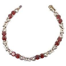 Red Garnet Bracelet, Gemstone Bracelet, Sterling Silver, Vintage Bracelet, January Birthstone, Faceted Stones, Links Linked, Tennis Bracelet