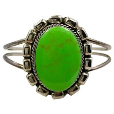 Turquoise Cuff, Green Turquoise, Sterling Silver, Vintage Bracelet, Cuff Bracelet, Mexico, Big Stone