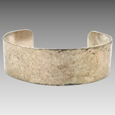 Modern Cuff, Sterling Silver, Vintage Bracelet, Cuff Bracelet, Hammered Textured, Contemporary, Handcrafted, Signed, Stack, Layer, Rustic