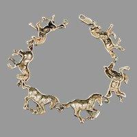 Horse Bracelet, Sterling Silver, Vintage Bracelet, Equestrian, Running Trotting, Galloping, Heavy Silver, Unique, Quality, Links Linked, Big