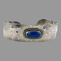 Lapis Bracelet, Sterling Silver, Vintage Cuff, Blue Stone, Boho Bohemian, Vintage Bracelet, Textured, Handcrafted, Southwestern, Stacking