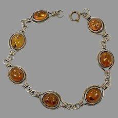 Amber Bracelet, Honey Amber, Sterling Silver, Vintage Bracelet, Linked Bracelet, Vintage Jewelry, 925, Oval Stones, Links