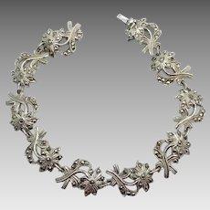 Marcasite Bracelet, Flower Bracelet, Sterling Silver, Vintage Bracelet, Art Nouveau Style, Sparkling, Floral Bracelet, Linked Links