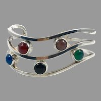 Onyx Cuff, Sterling Cuff, Vintage Bracelet, Mexico, Carnelian, Green Onyx, Mixed Stones, Wide, Modern, Contemporary, Heavy Silver, Big