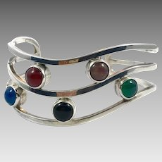 Onyx Cuff, Sterling Cuff, Vintage Bracelet, Mexico, Carnelian, Green Onyx, Mixed Stones, Wide, Modern, Contemporary, Heavy Silver, Big