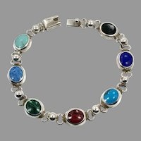 Turquoise Bracelet, Lapis, Jasper, Malachite, Onyx, Sterling Bracelet, Vintage Mexico, Mixed Stones, Multi, Links Linked,