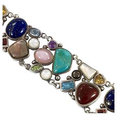 Gemstone Bracelet, Sterling Silver, Turquoise, Lapis, Carnelian, Peridot, Citrine, Garnet, Amethyst, Vintage Bracelet, Mixed Stones
