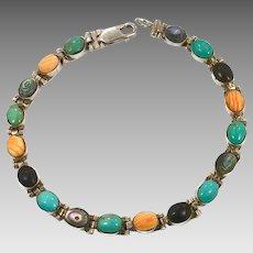 Mixed Stone Bracelet, Sterling Bracelet, Turquoise, Spiny Oyster Shell, Vintage Bracelet, Multi-Stone, Abalone Seashell, Black Onyx, Links