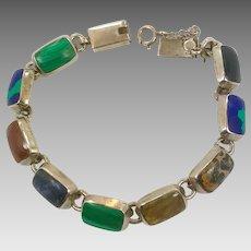 Multi-Stone Bracelet, Sterling Bracelet, Taxco, Mexico, Black Onyx, Azurite Malachite, Jasper, Vintage Bracelet, Silver Bracelet, Links