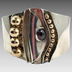 Modern Cuff, Sterling Silver, Garnet, Vintage Bracelet, Contemporary, Abstract, Artisan, Mixed Metal, Brass, Wide, Brutalist, Unique