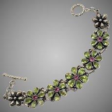 Peridot Bracelet, Pink Tourmaline, Sterling Silver, Vintage Bracelet, DP, Doug Paulus, India, Mixed Stones, Green