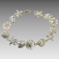 Sea Shell Bracelet, Sterling Silver, Vintage Bracelet, Starfish, Sand Dollar, Beach Jewelry, Mermaid Style, Links Linked, Vacation Cruise