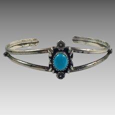 Turquoise Cuff, Sterling Silver, Vintage Bracelet, Cuff Bracelet, 1970s, Small Wrist, Boho Jewelry, Vintage Bracelet, Country Western