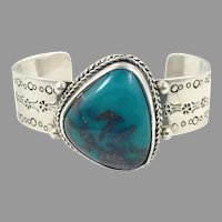 Turquoise Bracelet, Sterling Silver, Vintage Bracelet, Mexico, Cerroblanco, Designer, Cuff Bracelet, Signed, Heavy, Thick Silver, Stamped