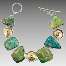 Turquoise Bracelet, Chrysocolla, Sterling Silver, Vintage Bracelet, Gold Wash, Artisan, Studio Design, Unique, Unusual, Toggle, Links Linked