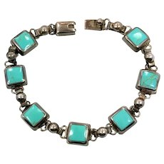 Turquoise Bracelet, Sterling Silver, Vintage Bracelet, 925 Bracelet, Mexico, Links Linked, Bohemian, Southwestern, Country Western