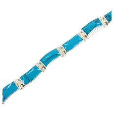 Turquoise Bracelet, Sterling Silver, Vintage Bracelet, Taxco, Mexico, 950 Silver, Links, Linked, Bohemian, Southwestern, Layer, Stack, Boho