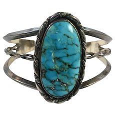Turquoise Cuff, Sterling Silver, Cuff Bracelet, Vintage Cuff, Large Stone, Southwestern, Wide, Huge, Big, Boho, Country Western