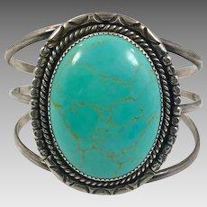 Turquoise Cuff, Sterling Silver, Vintage Bracelet, Turquoise Bracelet, Robins Egg Blue, Big Stone, Handcrafted, Boho, Southwestern, Wide