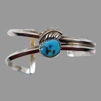 Turquoise Bracelet, Sterling Silver, Cuff Bracelet, Feather, Native American, Signed, Vintage Bracelet, Southwestern, Modern, Bohemian Boho