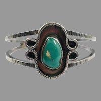 Turquoise Bracelet, Sterling Cuff, Vintage Bracelet, Small Wrist, Shadowbox Setting, Sterling Silver, Cuff Bracelet, Heavy Silver, Boho