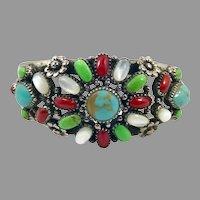 Turquoise Bracelet, Sterling Silver, Vintage Bracelet, Cuff Bracelet, Green Turquoise, Small Wrist, MOP, Coral, Flower, Statement, Bohemian