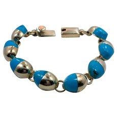 Turquoise Bracelet, Sterling Silver, Vintage Bracelet, Heavy Silver, Linked, Silver, Bohemian, Southwestern, Country Western