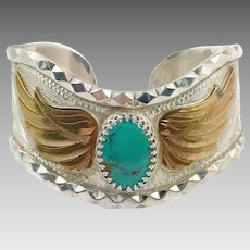 Turquoise Cuff, Sterling Silver, Vintage Bracelet, Angel Wings, Etched, Signed, Unique, Unusual, Cowgirl, Southwestern, Country Western