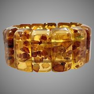 Amber Lucite Bracelet, Vintage Bracelet, Amber Stretch Bracelet, Faux Amber, Lucite Bracelet, Modern, Chunky, Big, Large, Wide