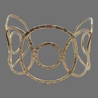Brass Bracelet, Modern, Vintage Cuff, Geometric, Wide Cuff, Hammered Brass, Textured, Adjustable, Large, Big, Boho, Bohemian