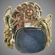 Druzy Bracelet, Cuff Bracelet, Brutalist, Massive, Vintage Bracelet, Mixed Metals, Copper, Brass, Silver, 1980s, 80s, Huge, Big, Rustic