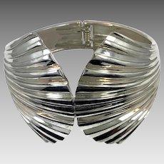 Big Bracelet, Hinged Cuff, Silver, Big Statement, Clamper Bangle, Wide Large, Modern