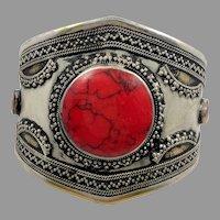 Red Bracelet, Silver, Brass, Afghan Cuff, Vintage Bracelet, Middle Eastern, Turkomen, Kuchi, Big Gypsy, Ethnic, Wide Statement