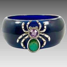Spider Bracelet, Lucite, Vintage Jewelry, NOS, Hinged, Translucent Blue, New Old Stock, Unique, Unusual, Gothic Boho, Odd, Purple, Green
