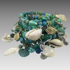 Mermaid Bracelet, Turquoise Bracelet, Wrap Bracelet, Charm Bracelet, Massive, Huge OOAK, Artisan, Sea Shell, Ocean, Beach, Cruise, Beaded
