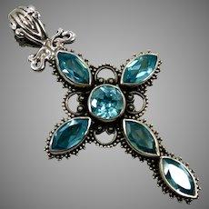 Blue Topaz Cross, Sterling Silver, Vintage Pendant, Gemstone Cross, Blue Stones