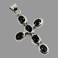 Onyx Cross, Vintage Cross, Sterling Silver, Vintage Pendant, Onyx Pendant
