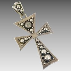Moonstone Cross, Vintage Cross, Sterling Silver, Designer, Suarti, Bali, Modern, Contemporary, Vintage Pendant, Sterling Cross, Big, Large
