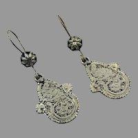 Etched Earrings, Silver, Afghan Jewelry, Vintage Earrings, Middle Eastern, Kuchi, Pierced, Dangles, Gypsy