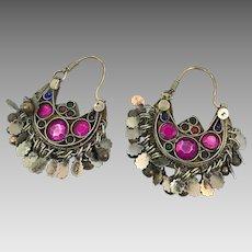 Kuchi Earrings, Hoop Earrings, Boho, Ear Weights, Pink, Purple, Pierced, Silver, Ethnic Jewelry, Big Festival, Tribal Afghan, Bohemian