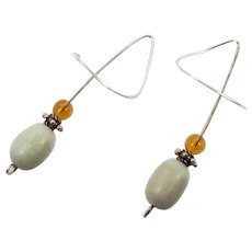 Threader Earrings, Sterling Silver, Beaded, Amber, Pale Aqua, Handcrafted, Artisan, Modern, Minimalist, Unique, Unusual, Long, Large, Big