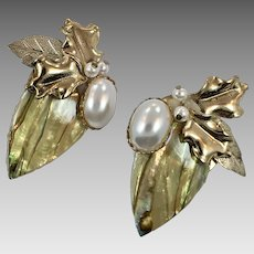 Shell Earrings, Vintage Earrings,Abalone, 1980s, Massive, Oversized, Collage, Assemblage, Pearl, Huge, Gold, Pierced, Statement Earrings