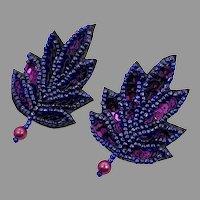 Sequin Earrings, Purple, Blue, Vintage Earrings, 1980s 80s, Oversized, Massive, Pierced Posts, , NOS, Big Statement, Blue Earrings