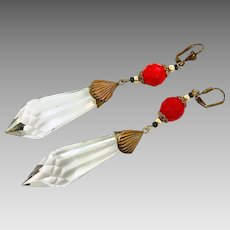 Art Deco Earrings, Vintage Earrings, Czech Glass, Brass, Red, Clear, Statement, Long Beaded, Glass Beads, Exotic, Boho, Massive, Big
