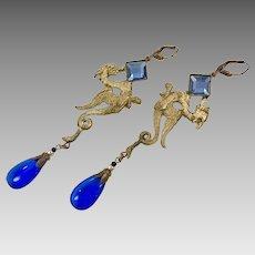 Dragon Earrings, Art Deco, Czech Glass, Blue, Brass, Vintage Earrings, 1930s, Renaissance