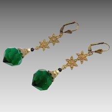 Art Nouveau Earring, Vintage Earrings, Czech Glass, Brass, Flower, Green, Statement, Art Deco, Long Beaded, Glass Beads, Bohemian, Big